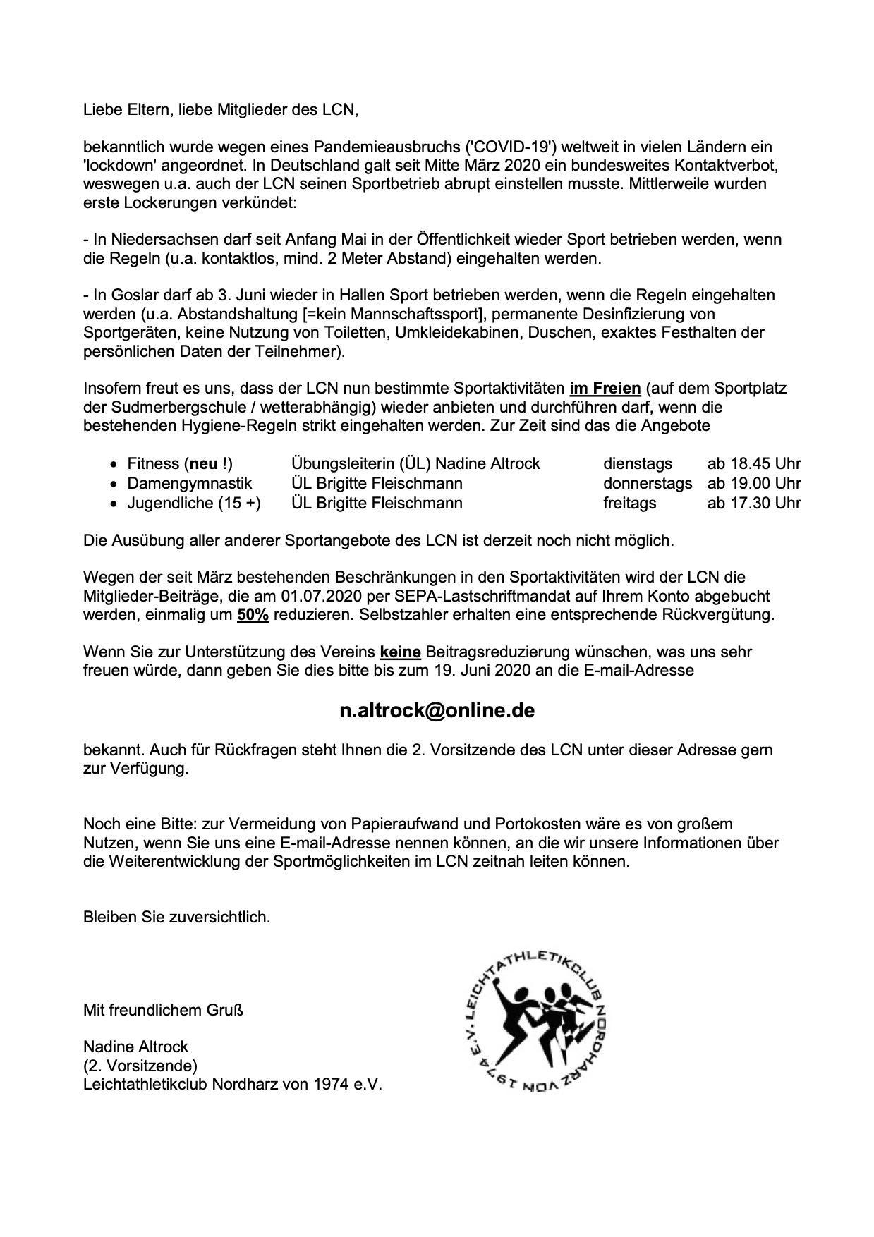 2020-06-01, Brief_LCN-Mitglieder wg. Corona